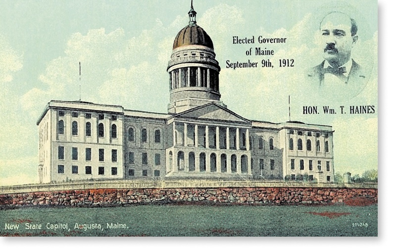 """Maine Gov. William T. Haines, depicted on this postcard, gave his inaugural address a hundred years ago today, saying in the 26-page speech, """"make every day count from the start."""""""