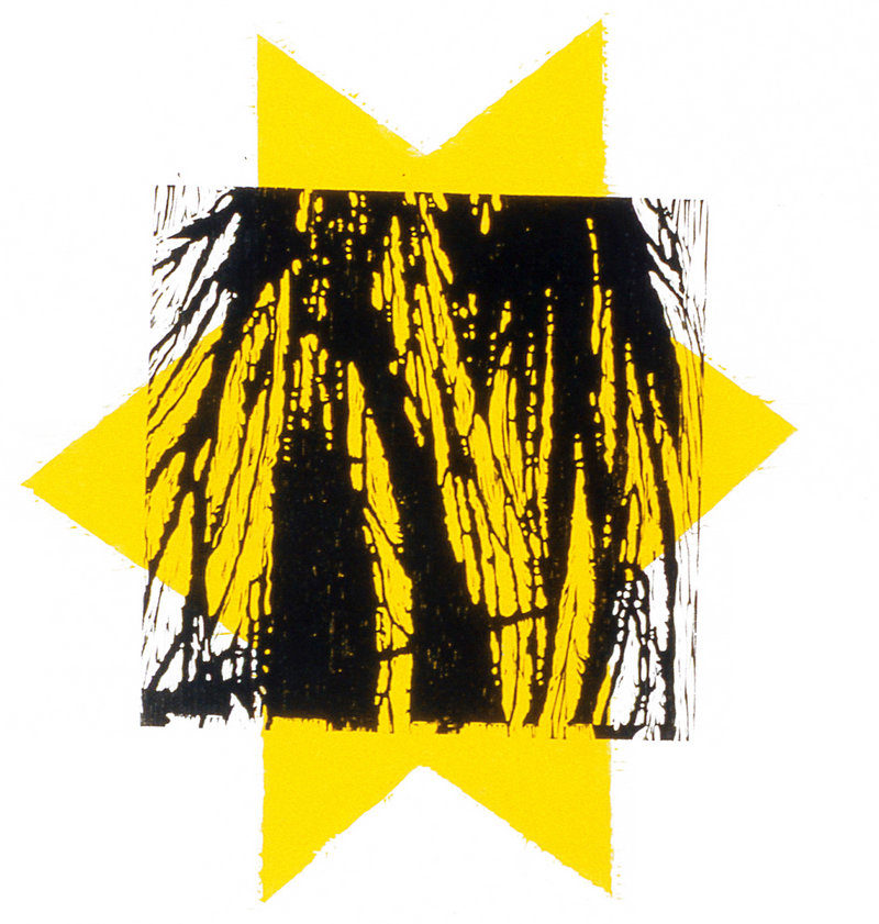 """Badge,"" woodcut, created in 2001 by Dorothy Schwartz."