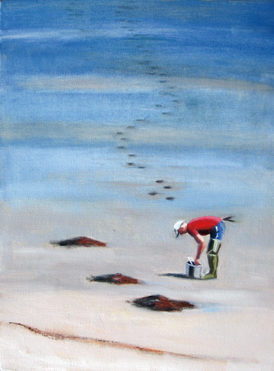 """""""Clammer"""" by Leslie Anderson is among the 28 paintings she hopes will inspire """"Summer Stories."""""""