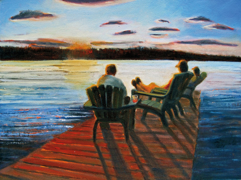"""""""Last Night at the Lake"""" by Leslie Anderson is among the 28 paintings that she hopes will inspire """"Summer Stories."""""""