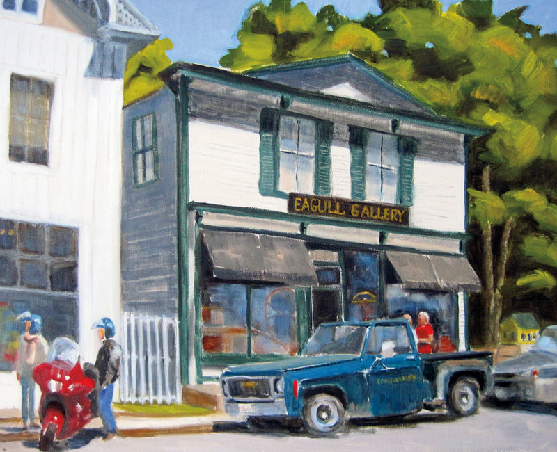 """""""Stonington Street"""" by Leslie Anderson is among the 28 paintings that she hopes will inspire """"Summer Stories."""""""