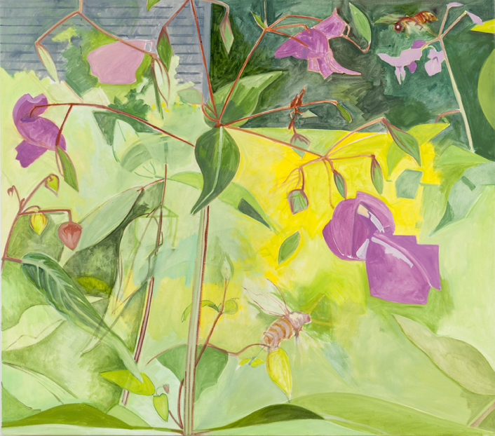 """""""Magenta Touch-Me-Not,"""" oil on linen, 2007, from """"Lois Dodd: Catching the Light."""""""