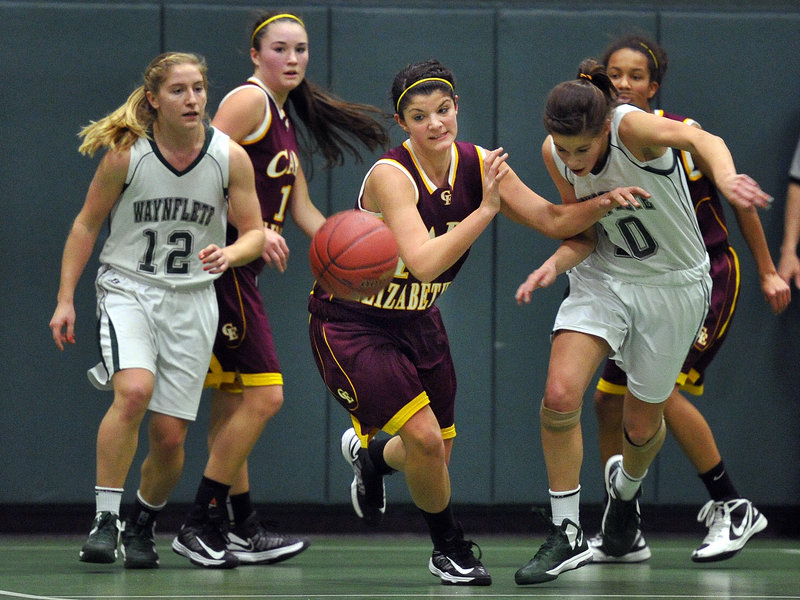 Marlo Dell'Aquila of Cape Elizabeth breaks away from the pack during the second half of Thursday's Western Maine Conference girls' basketball game at Waynflete. Dell'Aquila had 18 points in the Capers' 49-45 upset overtime win.