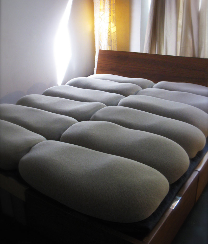 The Twist, designed by Lynne Cimino, is a make-it-yourself mattress that involves filling cotton covers with buckwheat hulls.