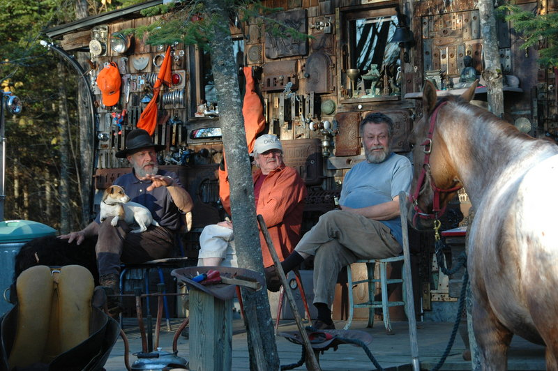 """Eddie Fitzpatrick, center, in """"Porch Talk"""" by Diane Hudson, from """"Travels with Eddie and Other Surprises."""""""