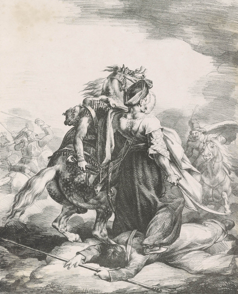 """From """"Printmaking ABC"""" at Bowdoin, """"A Mameluke of the Imperial Guard Defending a Wounded Trumpeter from a Cossack,"""" by Theodore Gericault, French, 1818 lithograph"""