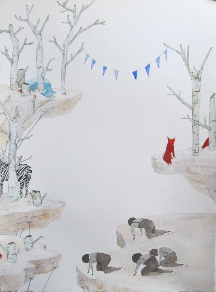 """Overlooking the Edge of Earth"" by Anne Buckwalter of Maine, 2012, gouache and pencil on paper."