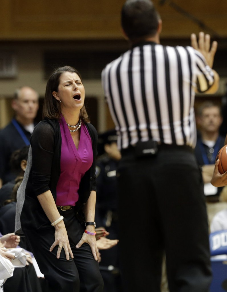 Duke Coach Joanne P. McCallie is apparently perturbed by a referee's call during the Blue Devils' 82-45 win over Clemson at Durham, N.C., on Thursday.