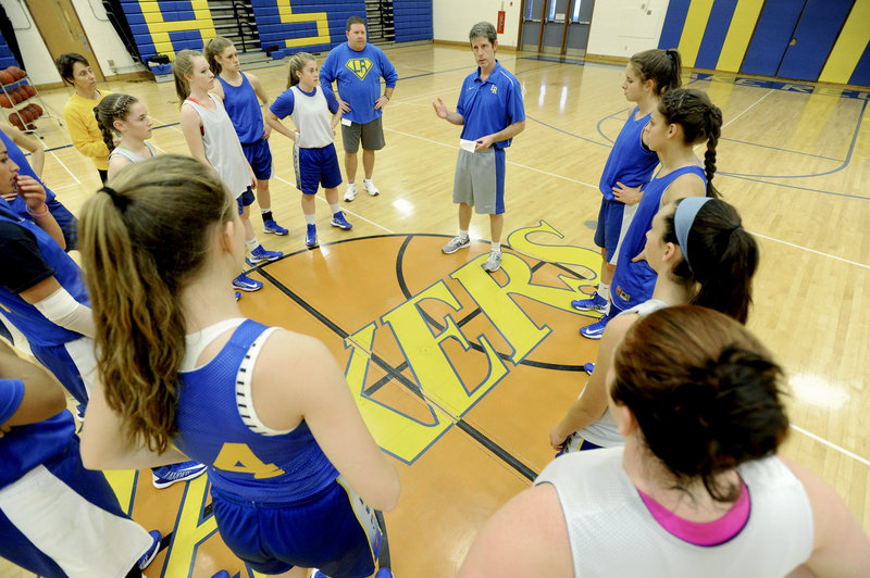 """Paul True, Lake Region's girls' basketball coach, is also the athletic director. When hiring a coach, he says, he looks for """"a good person, honest and genuine."""""""