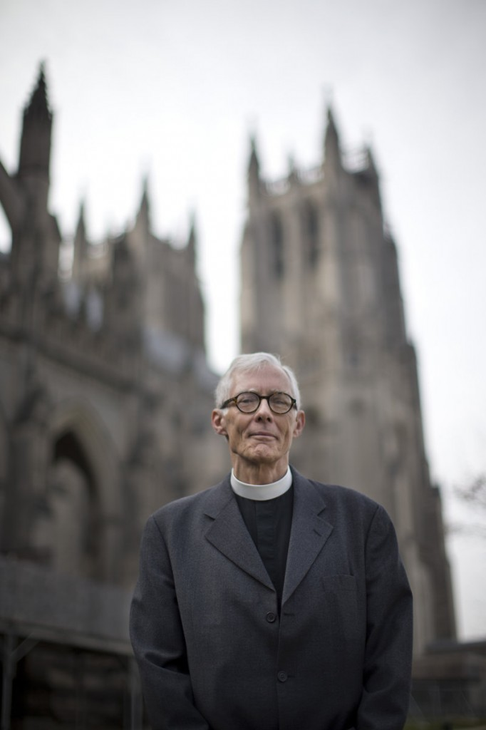 "The Very Rev. Gary Hall, dean of the Washington National Cathedral, stands outside the church Wednesday. ""We are really trying to take the next step for marriage equality in the nation and in the culture,"" he said."