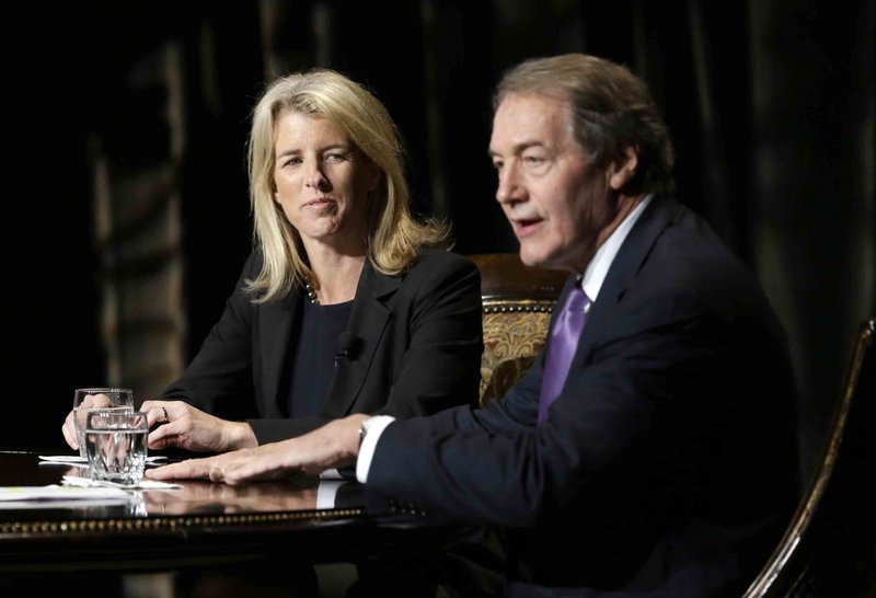 Journalist Charlie Rose begins an interview with Rory Kennedy and her brother Robert F. Kennedy Jr. at the Winspear Opera House in Dallas Friday.