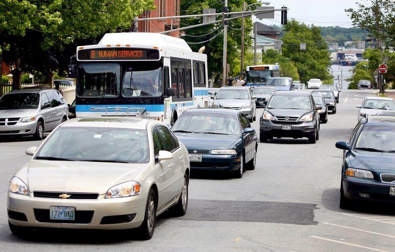 Vehicles head up State Street last June.