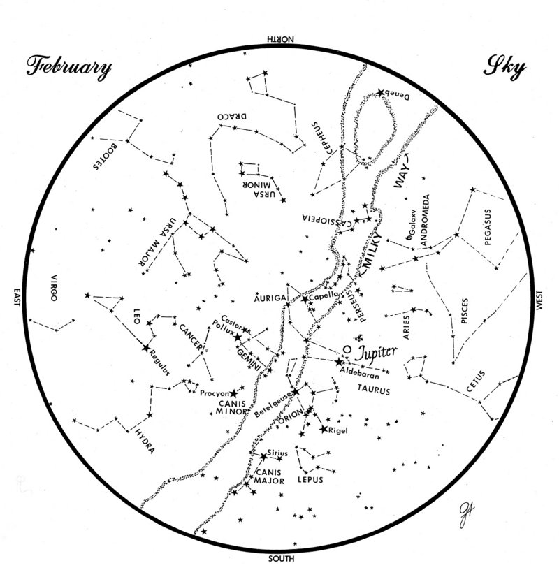 Sky Guide: This chart represents the sky as it appears over Maine during February. The stars are shown as they appear at 9:30 p.m. early in the month, at 8:30 p.m. at midmonth and at 7:30 p.m. at month's end. Jupiter is shown in its midmonth position.