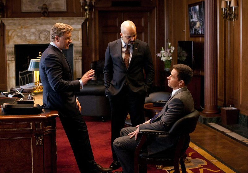 """Russell Crowe, left, Jeffrey Wright and Mark Wahlberg in """"Broken City."""""""