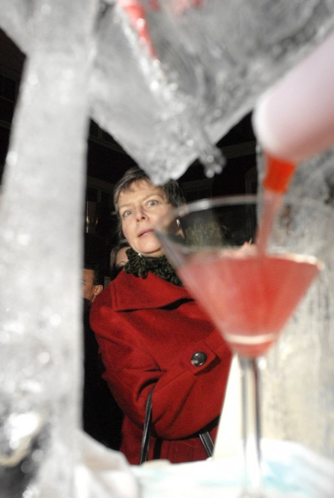 A martini is prepared at the 2010 event. Ice bar events have become a popular winter twist on the cocktail bar experience.