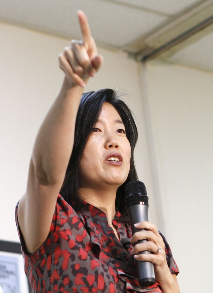 Michelle Rhee, former chancellor of schools in Washington, D.C., addresses staff and guests at a charter school in Opa-Locka, Fla., in 2011. The fact that a school reform group founded by Rhee gave Maine's education policies a low ranking needs to be put into better context, a reader says.