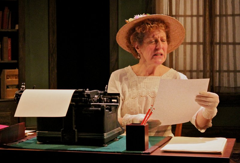 """Dixie Weisman as the jealous wife of author Franklin Woolsey, played by Dwight Burris, in Heartwood Regional Theater Company's one-act """"Ghost-Writer."""""""