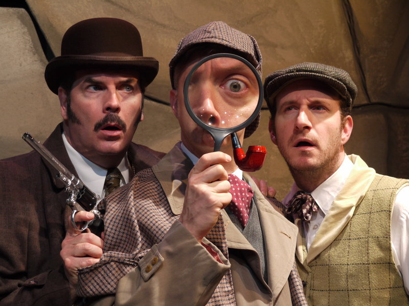 """Looking for a clue in The Public Theatre's """"The Hound of the Baskervilles"""" are J.T. O'Connor as Watson, Michael Frederic as Holmes and Dan Matisa as Sir Henry Baskerville."""