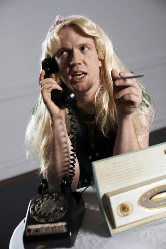 """Dustin Tucker as caller Didi Snavely, who wants to know if anything can """"be done about those Halloween pranksters."""""""