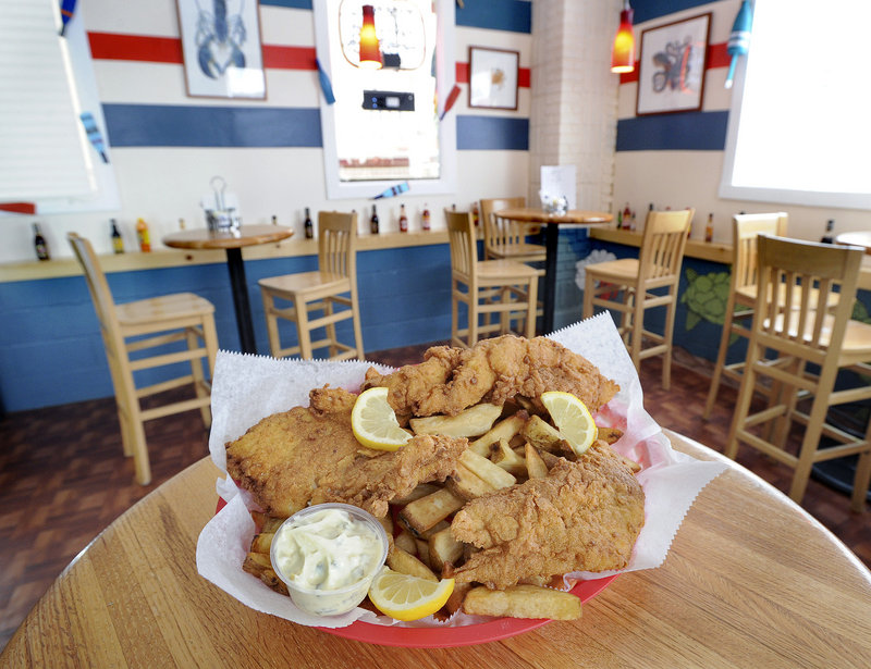 A generous mound of fish and chips awaits consumption at 3Buoys Seafood Shanty & Grille in Portland.