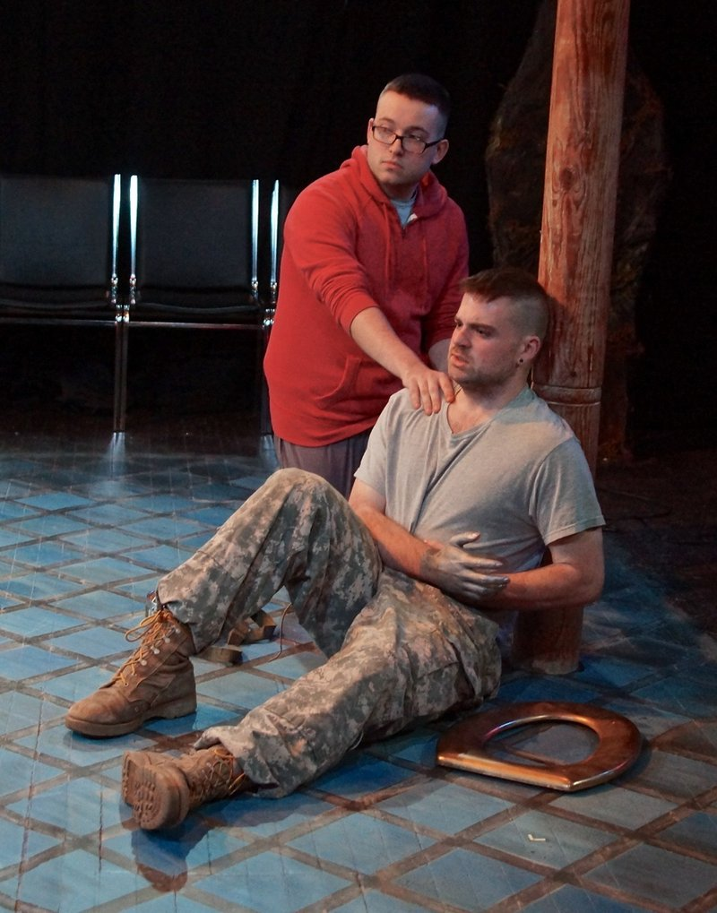 """Jake Cote and Evan Dalzell star in Mad Horse Theatre Company's production of """"Bengal Tiger at the Baghdad Zoo."""""""