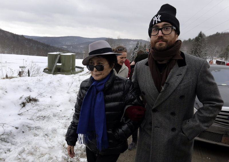 Yoko Ono, left, and her son Sean Lennon visit a fracking site in Franklin Forks, Pa., on Thursday.