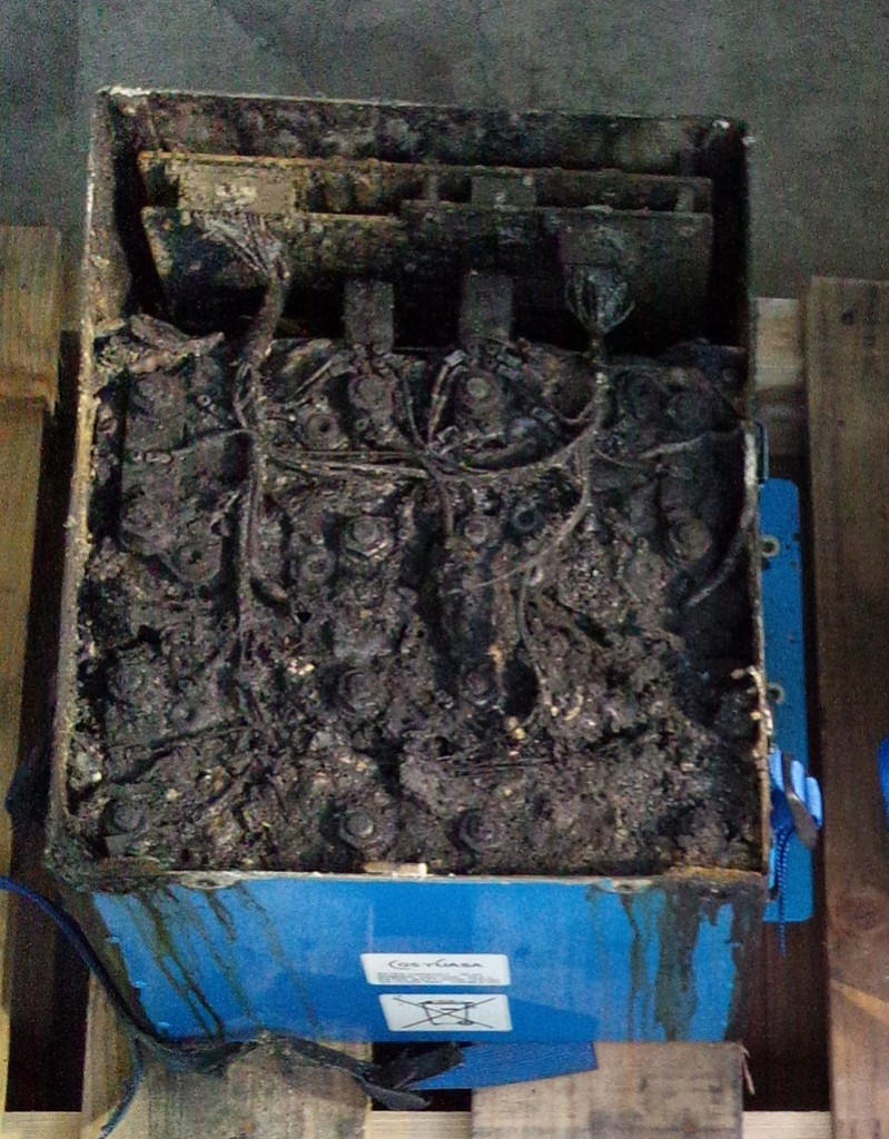 This is the damaged lithium ion battery from an aircraft that made an emergency landing in Japan this week.