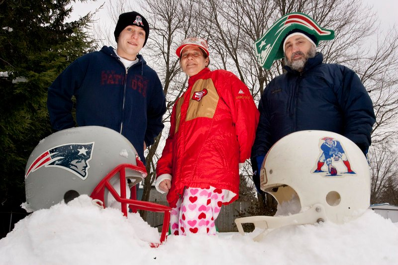 The Clement family of South Portland – 17-year-old Bert and his parents, Cathy and Bill – gets suited up for a big day of championship football. Father and son are both New England fans, but Bill remembers the team's lean years and Bert does not. The Patriots play the Baltimore Ravens tonight for a chance to appear in their sixth Super Bowl since 2001.