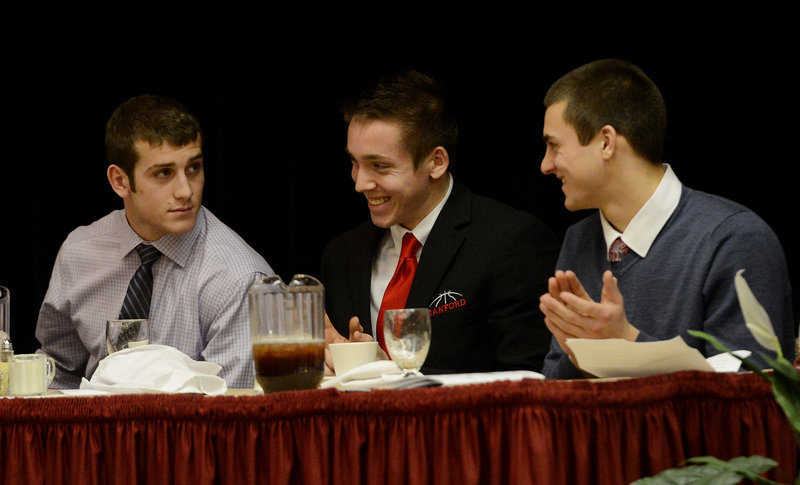 Donald Goodrich of Cheverus, Alex Shain of Sanford and Chandler Shostak of Cony shared the head table Sunday as Fitzpatrick Trophy finalists. Goodrich became just the second running back in the last six years to win the award.