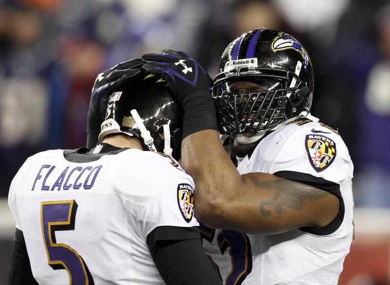 Joe Flacco helped make sure that linebacker Ray Lewis will play one more game before his retirement, directing the Ravens to their first AFC title since the 2000 season.