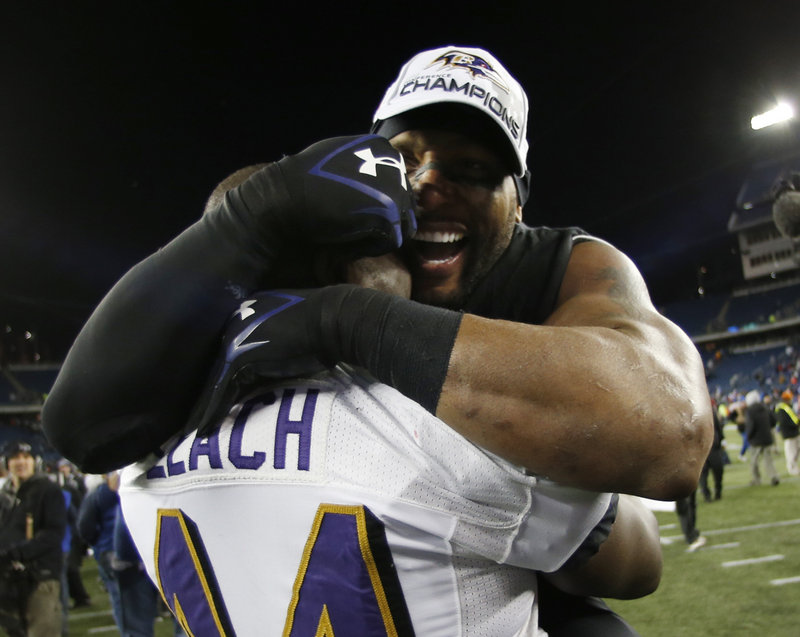 Baltimore Ravens linebacker Ray Lewis, right, celebrates with teammate Vonta Leach after Sunday's victory. Lewis has said that he plans to retire at the end of his postseason.
