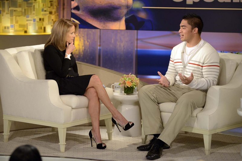 In this photo taken on Jan. 22, 2013, and released by ABC, former Notre Dame linebacker Manti Te'o speaks with host Katie Couric on