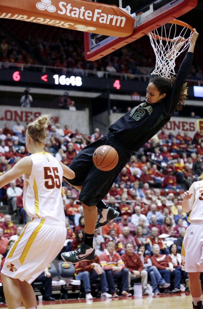 Brittney Griner dunks for the 11th time in her career Wednesday night, leading top-ranked Baylor to a 66-51 win over 24th-ranked Iowa State at Ames, Iowa.