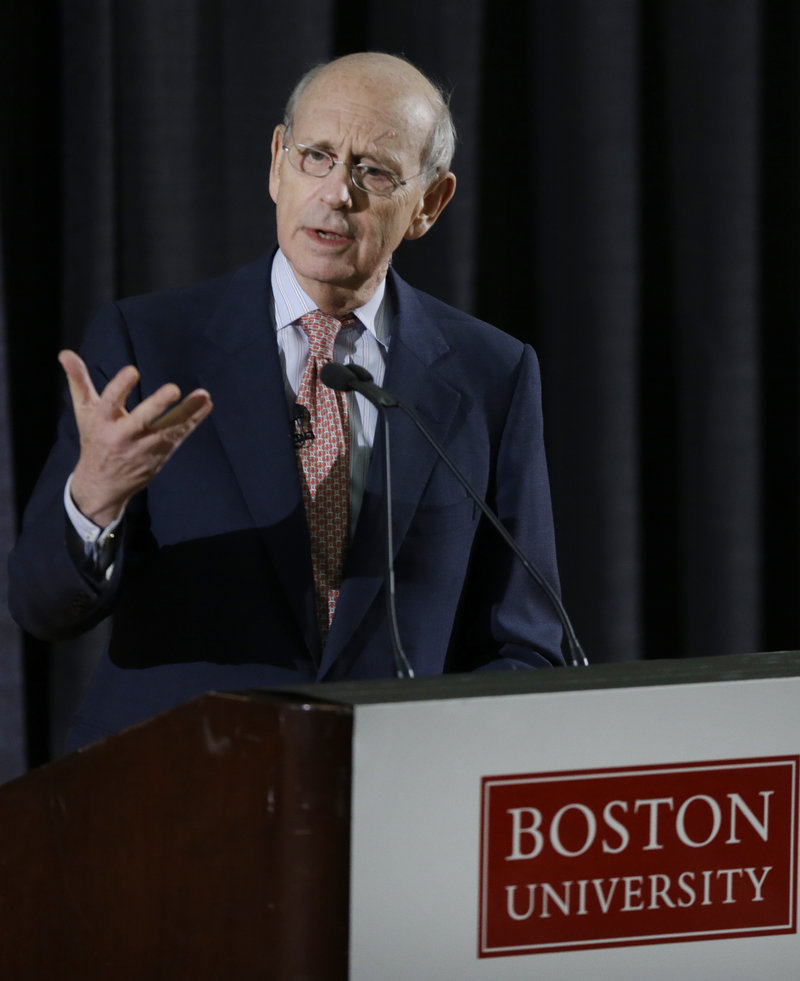 U.S. Supreme Court Justice Stephen Breyer speaks to about 450 students at the Boston University School of Law in Boston on Thursday.