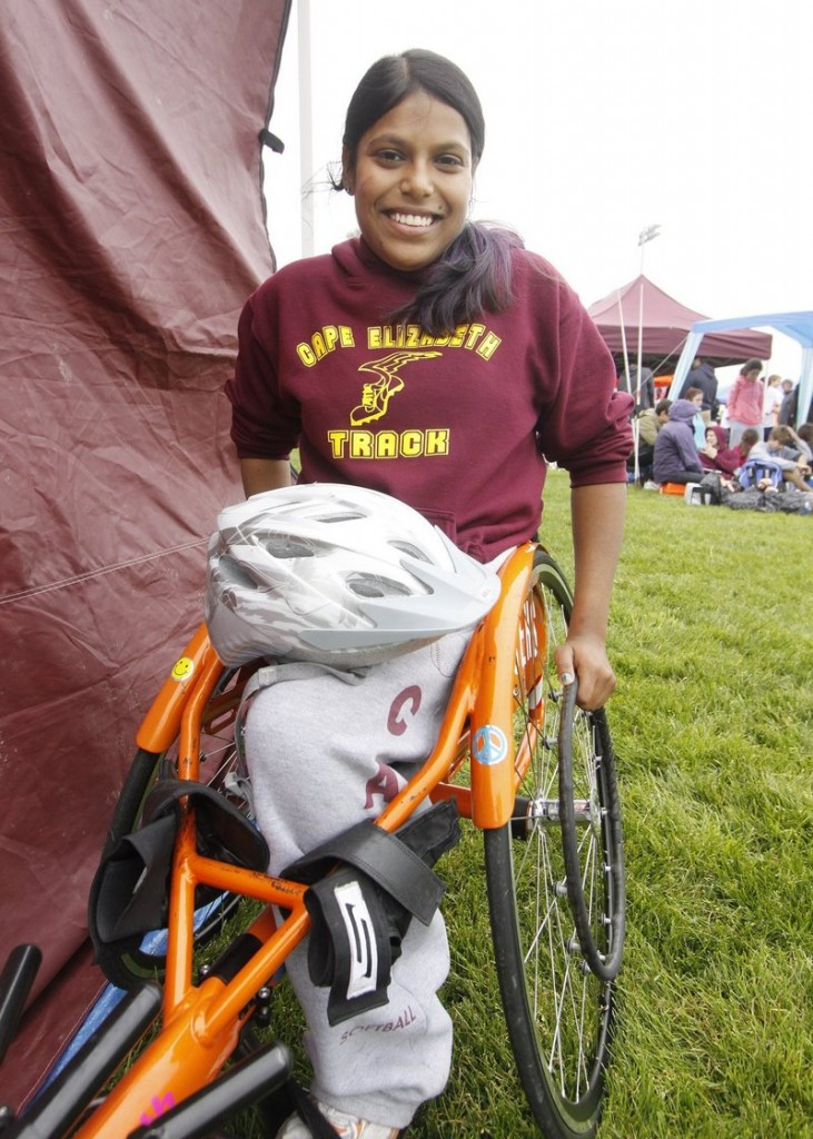 Cape Elizabeth's Christina Kouros, who was born with one leg, has competed in track and field and skiing.