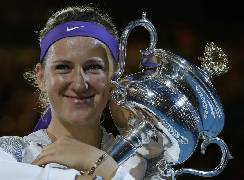 Victoria Azarenka of Belarus won the trophy and wasn't about to let it go Saturday, repeating as the Australian Open champion with a three-set victory against Li Na of China. Azarenka had been criticized for an injury timeout in a semifinal victory against Sloane Stephens.