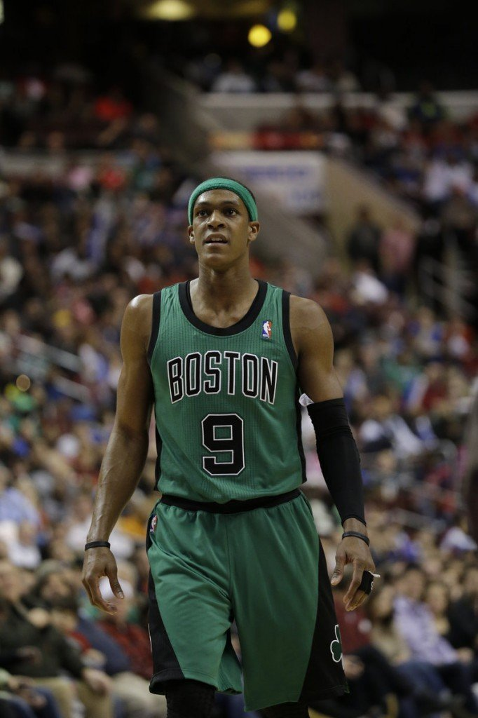 Boston Celtics' Rajon Rondo in action against the Philadelphia 76ers Dec. 7, 2012. A torn ACL in his right knee has sidelined him for the rest of the season.
