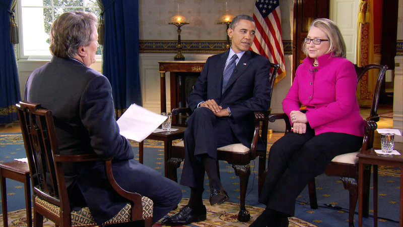 "President Obama and Secretary of State Hillary Rodham Clinton speak with ""60 Minutes"" correspondent Steve Kroft, left, Friday in the Blue Room of the White House in Washington in this image taken from video and provided by CBS."