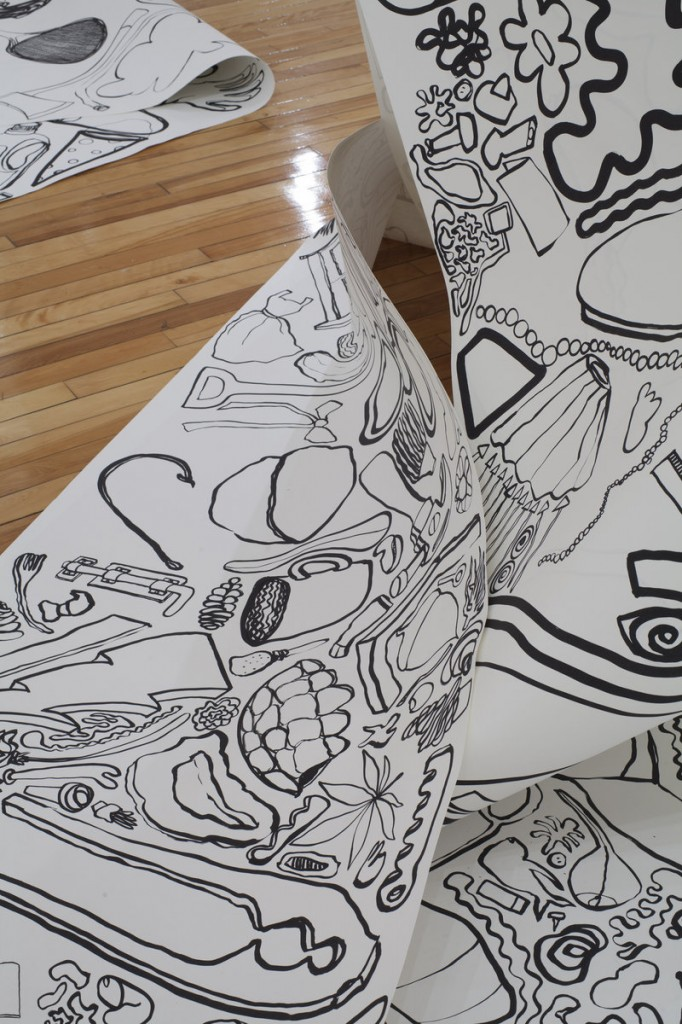 Astrid Bowlby's installation fills the Art Gallery at USM with enormous drawings on long rolls of paper.