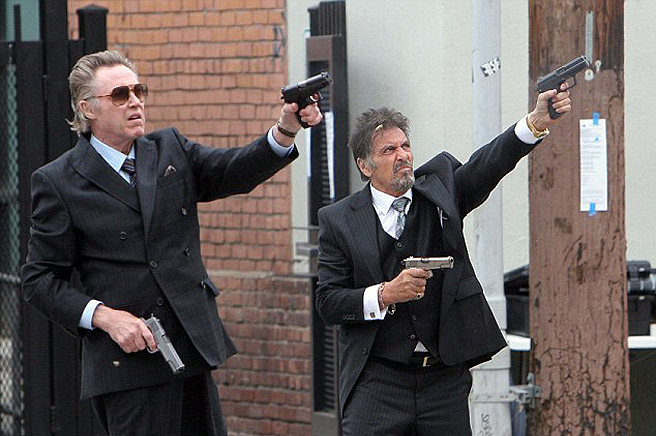 """Christopher Walken, left, and Al Pacino run afoul of a grudge-toting mob boss in """"Stand Up Guys."""""""