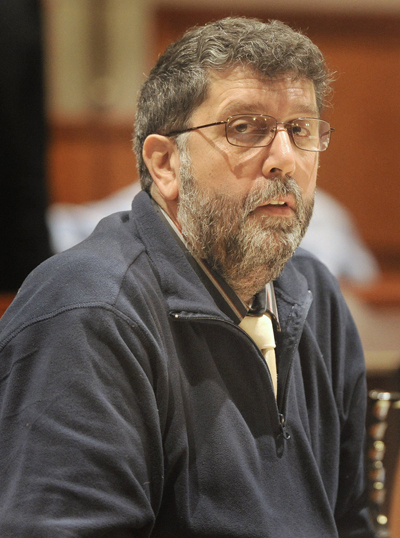 Daniel Tucci appears at his trial in Cumberland County Superior Court on Wednesday.
