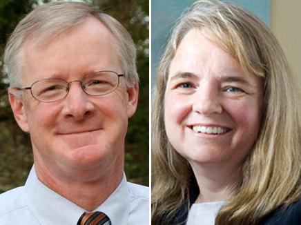 Sen. Dick Woodbury and Sen. Rebecca Millett