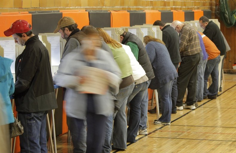 Voters cast their ballots at the Richard J. Martin Community Center in Biddeford on Nov. 8, 2011. State Rep. Gary Knight, R-Livermore Falls, has introduced a bill to restrict felons' voting rights.