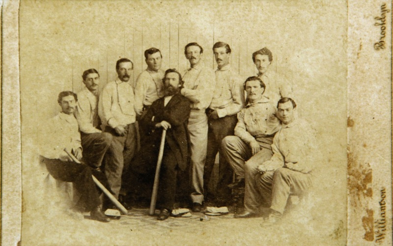 This 1865 card of the Brooklyn Atlantics was found by a picker in Baileyville and was auctioned off for $92,000 at the Saco River Auction Company on Feb. 6, 2013.