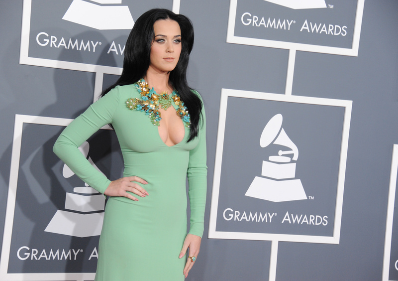 Katy Perry arrives at the Grammy Awards on Sunday. CBS put out a memo earlier in the week asking that