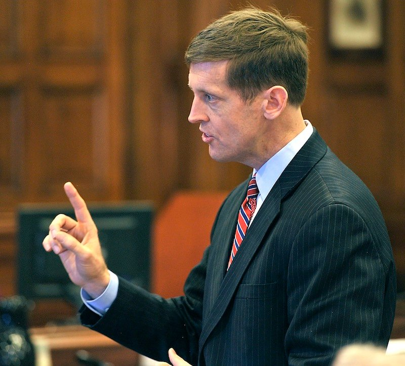 Walter McKee, attorney for Barry Spencer, gives his opening arguments. The Spencers allegedly provided a place for underaged people to drink.