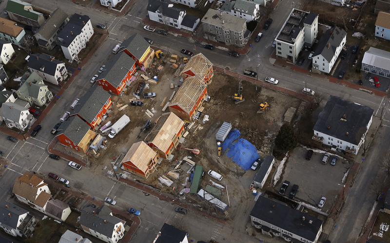 The old Adams School site on Wilson and Vesper Streets is being converted by Avesta Housing into the Adams School Condominiums & Marada Adams Park as seen in this aerial photograph Wednesday, February 6, 2013. Construction is expected to be complete by the spring.
