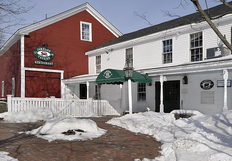 Gordon Chibroski / Staff Photographer: Tuesday, February 19, 2013. Exterior of Jameson Tavern in Freeport with detail of plaque.