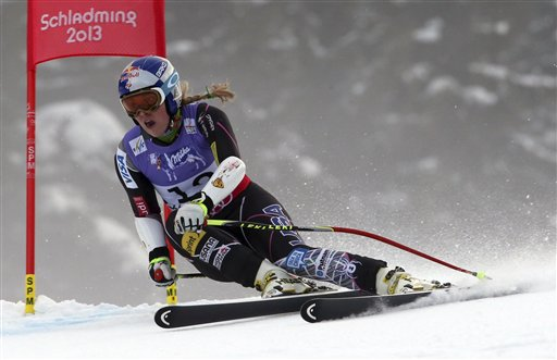 Lindsey Vonn speeds down the course during the women's super-G course before crashing at the Alpine skiing world championships in Schladming, Austria, on Tuesday.