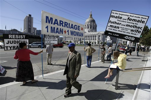 A group protests against gay marriage outside the California Supreme Court in San Francisco in this 2011 photo. The Obama administration is quietly considering urging the Supreme Court to overturn California's ban on gay marriage, a step that could be a major political victory for advocates of same-sex unions.